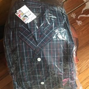 Nordstrom men's shop pajamas navy red double grid